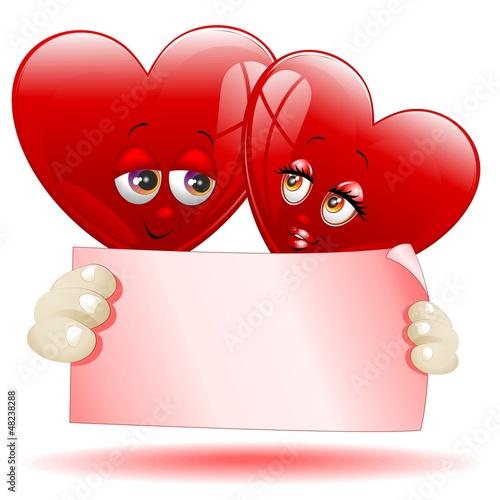Hearts Cartoon Love Message-Cuori Cartoon Auguri d'Amore-Vector