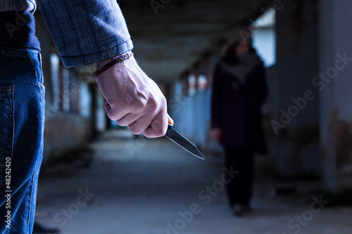 Criminal with Knife Waiting for a Woman Canvas Print