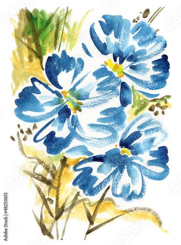 Naklejka dekoracyjna hand painted illustration: Summer Field