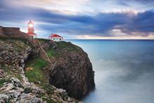 Glowing Beacon At Cape Sea. Po...