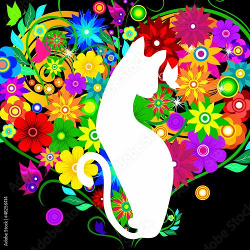 Fototapety, obrazy: graceful cat on background flowers hearts