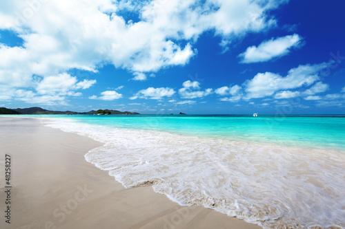 """Community-Maske mit Motiv """"Wolf"""" - beach at Praslin island, Seychelles (von Iakov Kalinin)"""