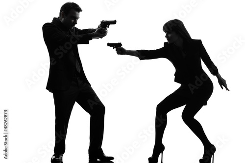 couple woman man detective secret agent criminal  silhouette Canvas Print
