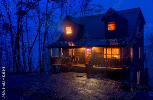 Cabin in the Mountains at night Wallpaper Mural