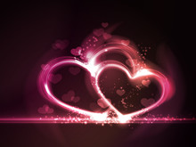 Red Pink Glowing Hearts Frame