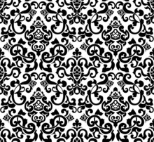 Black Seamless Pattern, Silhou...