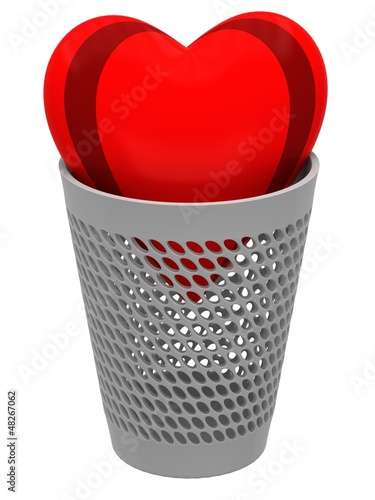 Red heart in a wastebasket
