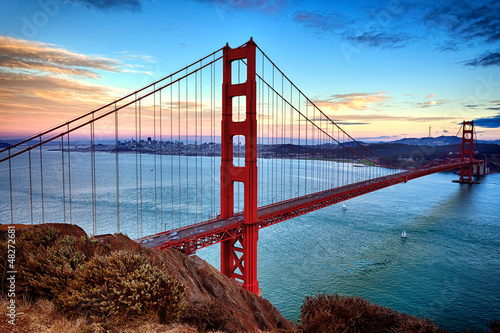 Fotobehang San Francisco horizontal view of Golden Gate Bridge