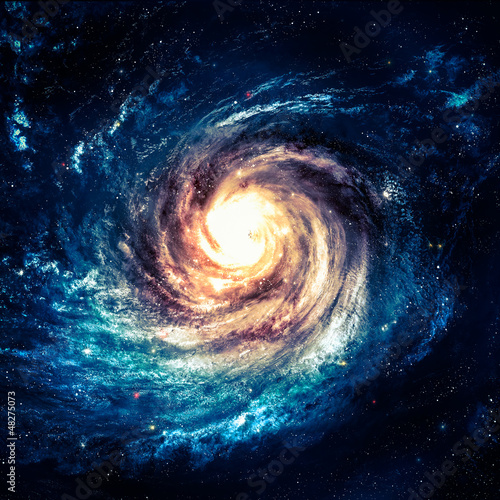 Incredibly beautiful spiral galaxy somewhere in deep space - 48275073