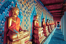 Golden Statues Of Buddha In Wat Arun Temple, Bangkok