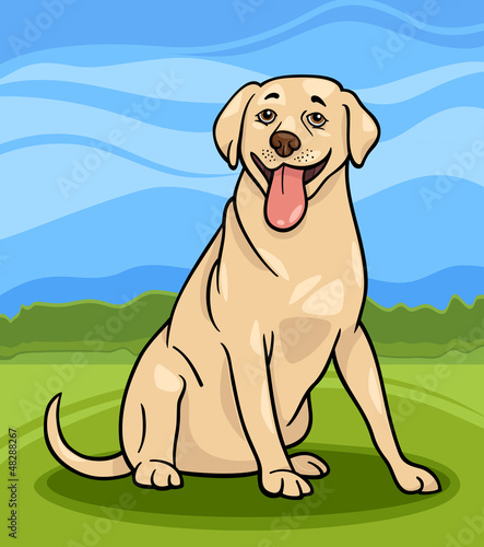 Foto op Canvas Honden labrador retriever dog cartoon illustration