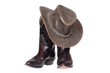 Cowboy Boots And Hat Isolated ...