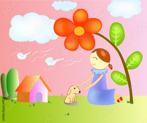 Poster Dogs illustration of a girl In the garden.