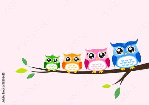 Keuken foto achterwand Uilen cartoon owl family seasonal celebration