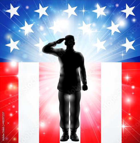 Canvas Prints Military US flag military armed forces soldier silhouette saluting
