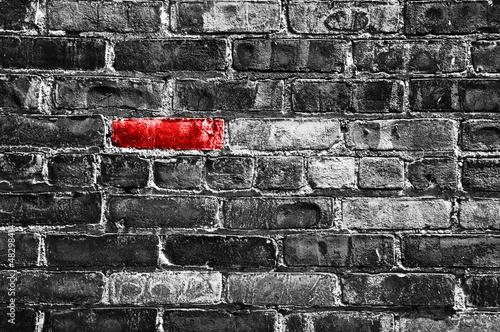 Obrazy one color   brique-rouge-dans-un-mur-noir-et-blanc
