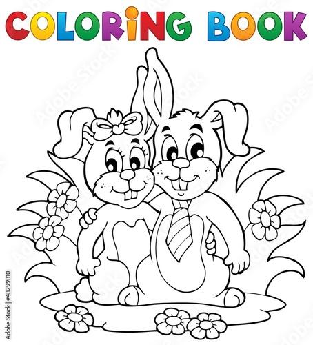 Tuinposter Doe het zelf Coloring book rabbit theme 2