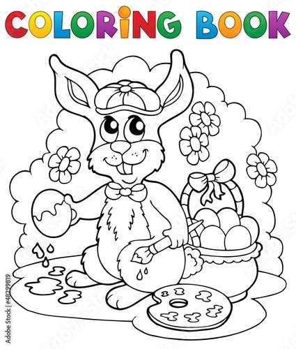 Spoed Foto op Canvas Doe het zelf Coloring book rabbit theme 3
