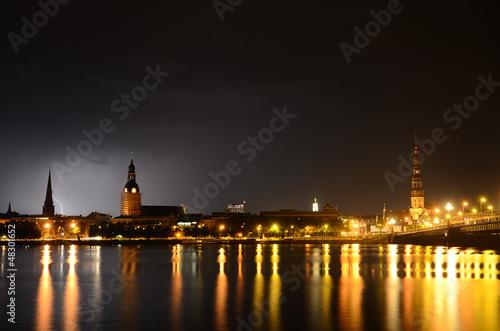Foto op Aluminium Volle maan night panoramic scene in Riga, Latvia