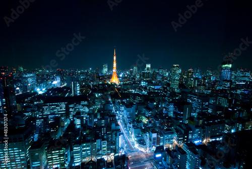 Spoed Foto op Canvas Tokyo 東京の夜景と東京タワー