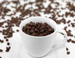 Kaffeebohnen mit Kaffeetasse 2