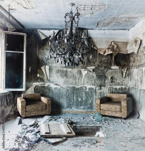 abandoned  interior Wall mural