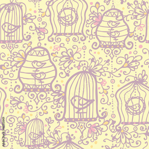 Acrylic Prints Birds in cages Vector doodle birdcages seamless pattern background with hand