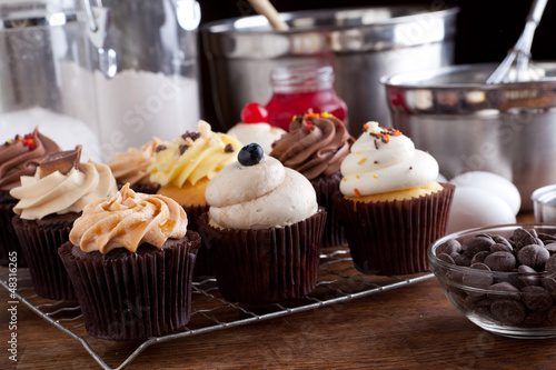 Variety of Gourmet Cupcakes Poster