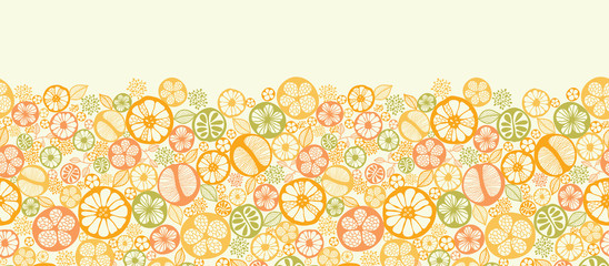 Fototapeta Do gastronomi Vector citrus slices horizontal seamless pattern background