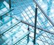 Leinwandbild Motiv Modern interior with steel railings and stairs made of glass
