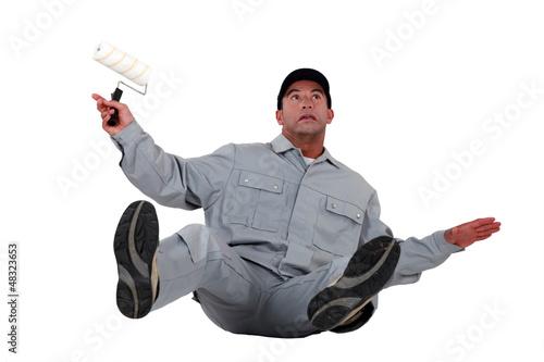Deurstickers Ontspanning craftsman painter slipping and falling