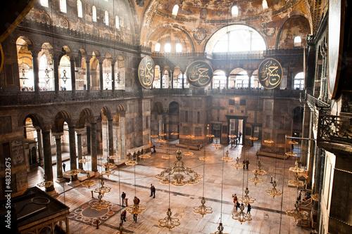 Poster Turquie Hagia Sophia Columns Chandeliers Windows Istanbul Turkey