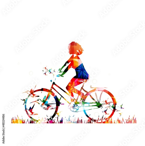 Poster Geometrische dieren Colorful vector girl with bike