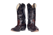 Cowboy Boots Isolated Over Whi...