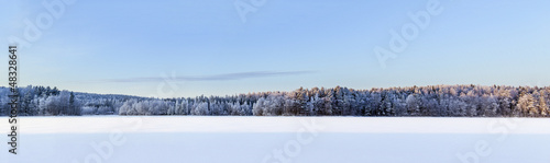 Winter lake panorama, Finland #48328641