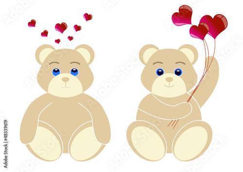 2 oursons avec coeur - serie 2 - Saint Valentin #48339619