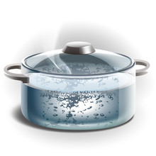 Glass Pot Of Boiling Water. Illustration.