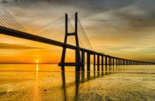 Vasco Da Gama Bridge At Sunrise, Lisbon