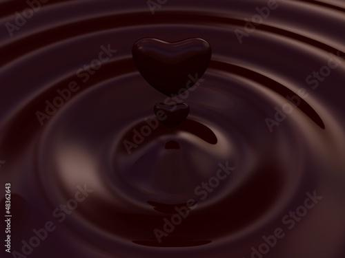 Fototapeta Dark chocolate heart symbol as a liquid drop background illustra obraz na płótnie