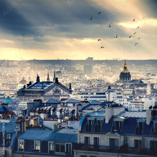 Poster Parijs Paris cityscape taken from Montmartre
