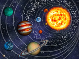 Fototapeta Kosmos - 3D Solar System: 9 planets in their orbits