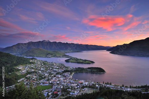 View of Queenstown, New Zealand at dusk