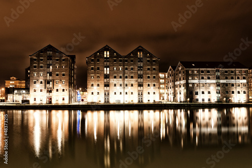 Photo  Warehouses around Gloucester Docks at Night