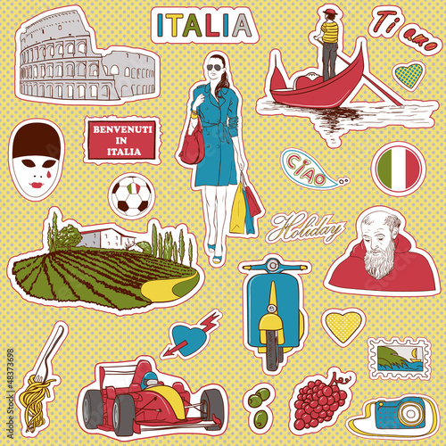 Poster Doodle Italy travel icons