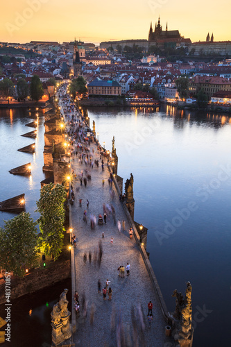 Leinwand Poster View of Vltava river with Charles bridge in Prague