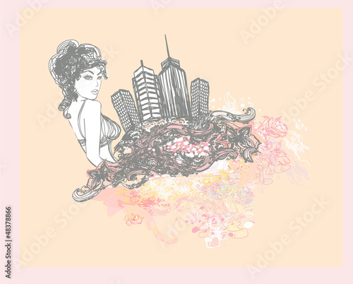 Tuinposter Doodle abstract fashion girl Shopping - illustration