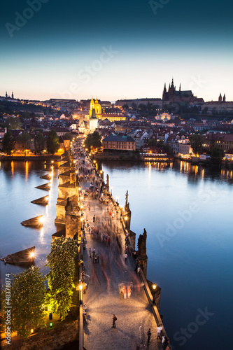 Fototapeta View of Vltava river with Charles bridge in Prague