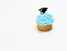 Blue Cupcake With Graduation Hat