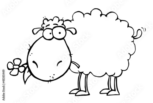 Fotografie, Obraz  Outlined Sheep Carrying A Flower In Its Mouth