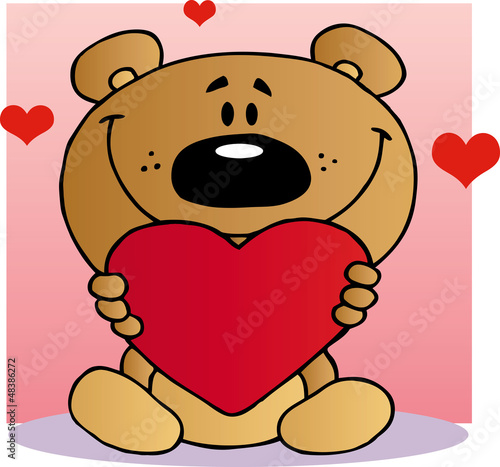 Happy Teddy Bear Holding A Red Heart #48386272